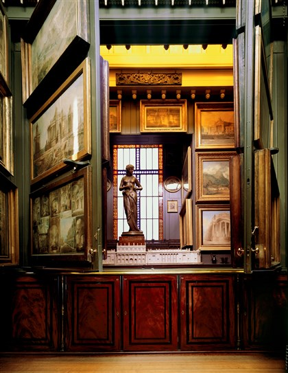 picture room at Sir John Soane's house museum The picture room at Sir John Soane's house museum in London houses the famous Hogarths, then opens to reveal architectural drawings and the Nymph, plus a view down into a Gothic chamber.