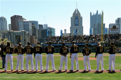 Pirates 2014 home opener Pirates players line up during the National Anthem before the start of their home opener against the Cubs at PNC Park Monday.
