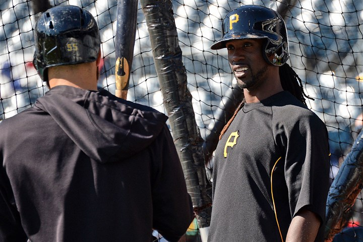 Ready for the opener The Pirates' Andrew McCutchen, right, talks with Russell Martin during batting practice in preparation for opening day against the Cubs at PNC Park.