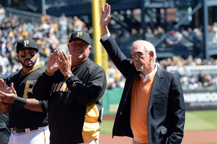 leyland0406 Former Pirates manager Jim Leyland acknowledges the crowd during opening day ceremonies against the Cubs at PNC Park Monday.