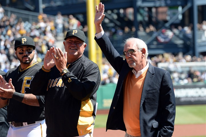 Former Pirates manager Jim Leyland Former Pirates manager Jim Leyland acknowledges the crowd during opening day ceremonies against the Cubs at PNC Park Monday, March 31, 2014.