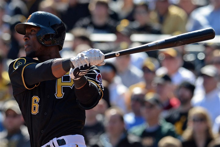 Starling Marte  Starling Marte hits a double against the Cubs in the sixth inning at PNC Park Monday, March 31, 2014.