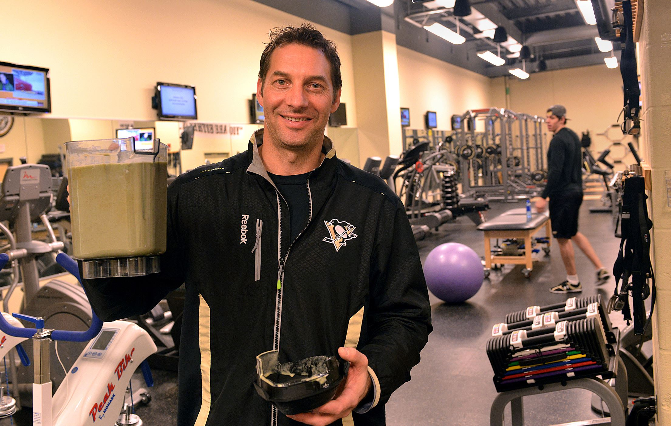 20140331lrpenguinfood10-8 Mike Kadar, the Penguins strength coach, shows off one of the shakes he made.