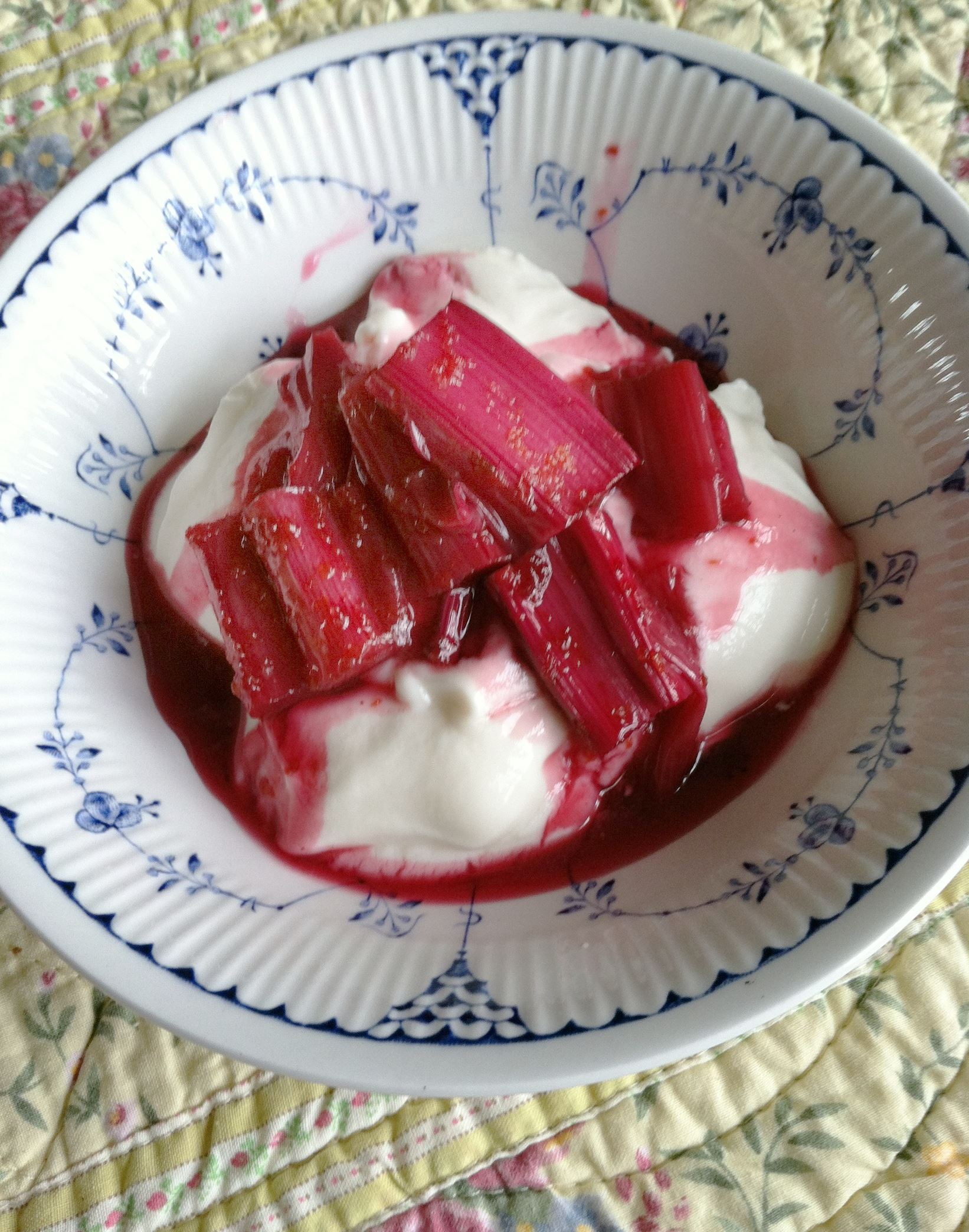 20140331horhubarbfood Ported rhubarb on yogurt.