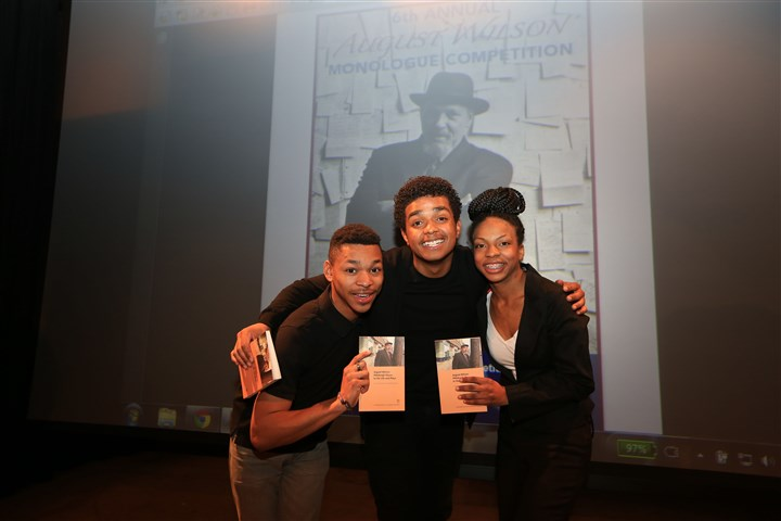 AWCompWinners2014smiling (1)-1 Winners of Pittsburgh's 2014 August Wilson Monologue Competition. From left, ShaQjuan Tyler, Lawrence White and Shawndasia Collins.