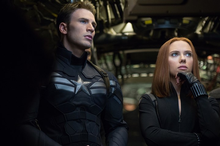 "Captain America The Winter Soldier Chris Evans and Scarlett Johansson in ""Captain America: The Winter Soldier."""
