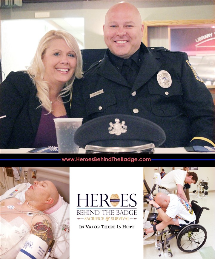 "20140401hosturgis0403 Officer James Kuzak and his girlfriend Chris Okulanis on a promotional poster for the documentary ""Heroes Beyond the Badge: Sacrifice & Survival."""