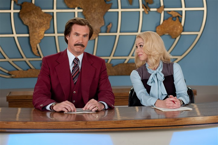"20140403HOAnchor2DVD-1  Will Ferrell as Ron Burgundy, and Christina Applegate as Veronica Corningstone in a scene from ""Anchorman 2: The Legend Continues."""