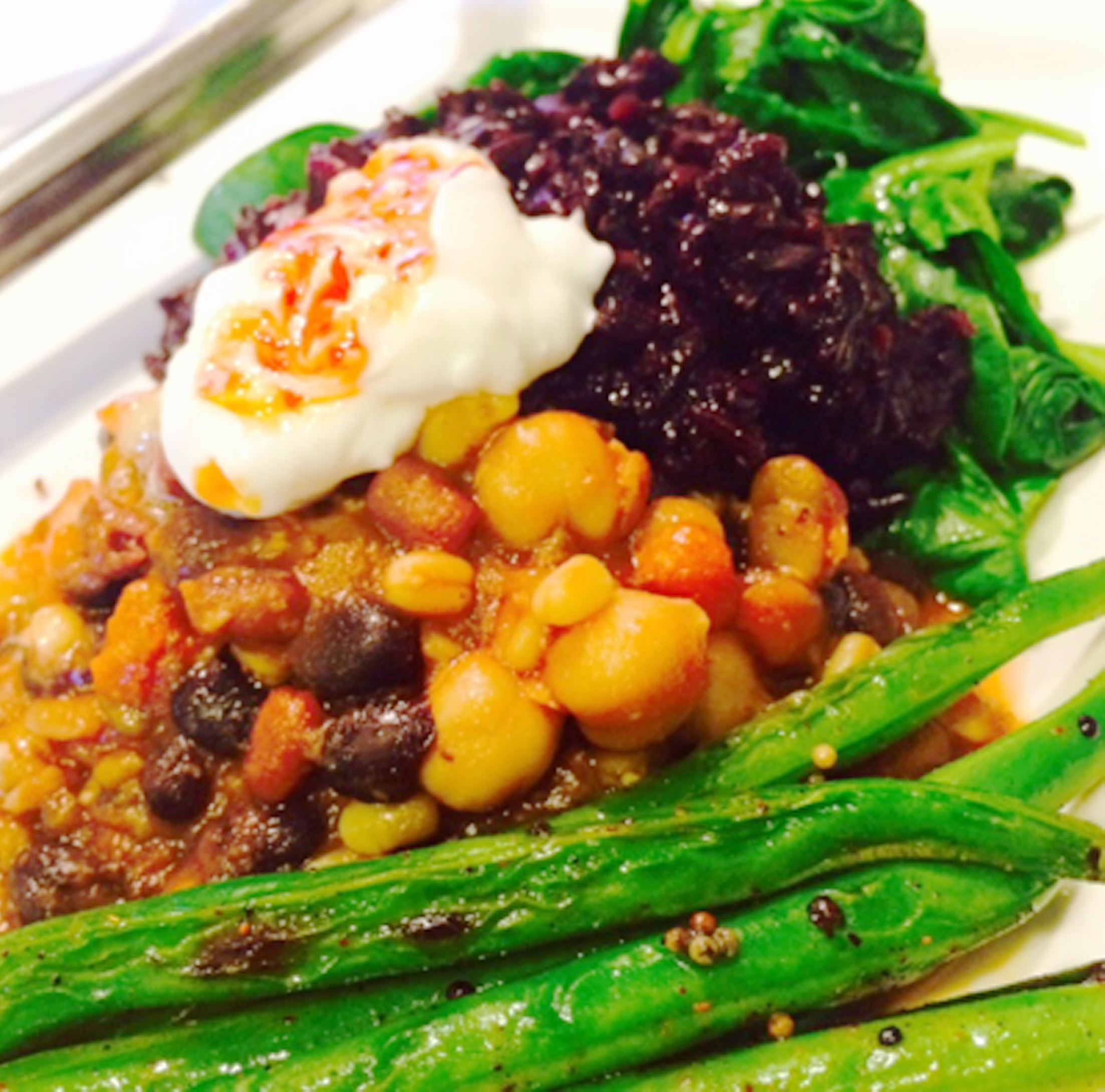20140327hofoodhook Sprouted Beans and Chickpea Stew, Sticky Black Rice, Charred Green Beans with Blackened Mustard Seeds and Sautéed Spinach.