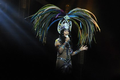 Cher 3 The spotlight hits Cher and her headdress at Consol Energy Center.