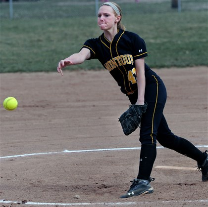 9e400klu.jpg Senior right-hander Olivia Dixon is one of three hurlers sharing the workload at Montour.