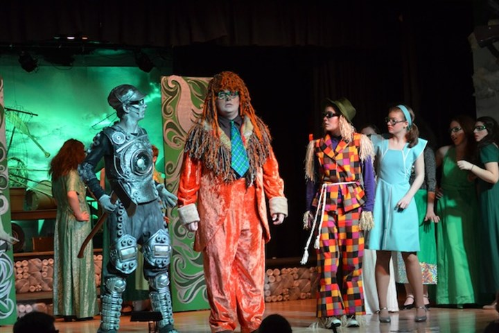 "2014KellyOLSHWiz3 Tin Man, Lion and Scarecrow accompany Dorothy on her quest in ""The Wiz"" at Our Lady of Sacred Heart."