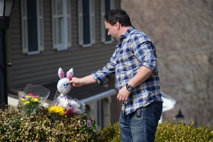 Bill Ehrin Bill Ehrin, 38, of McCandless places a toy outside the home in McCandless to pay tribute to two young children. Laurel Schlemmer is accused of drowning one son and trying to drown another Tuesday morning.