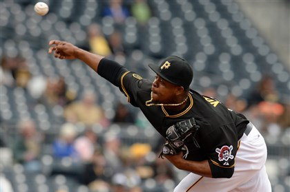 volquez0404 Pirates pitcher Edinson Volquez delivers Thursday against the Cubs. He's also slated to start Sunday against the Cardinals.