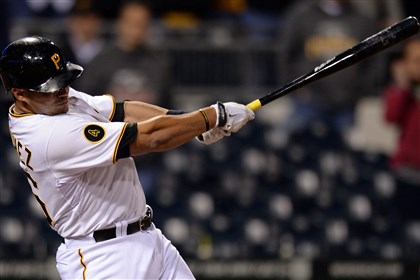 20140402mfbucssports15-2 Tony Sanchez hits the game-winning single against the Cubs in the 16th inning at PNC Park.