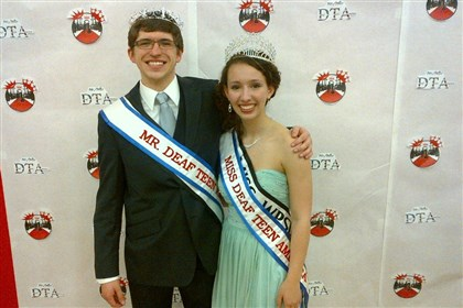20140403deaf Alec Lindsey, 17, of Winfield and Megan Majocha, 17, of Plum, just crowned Mr. and Miss Teen Deaf America in a pageant in Riverside, Calif.