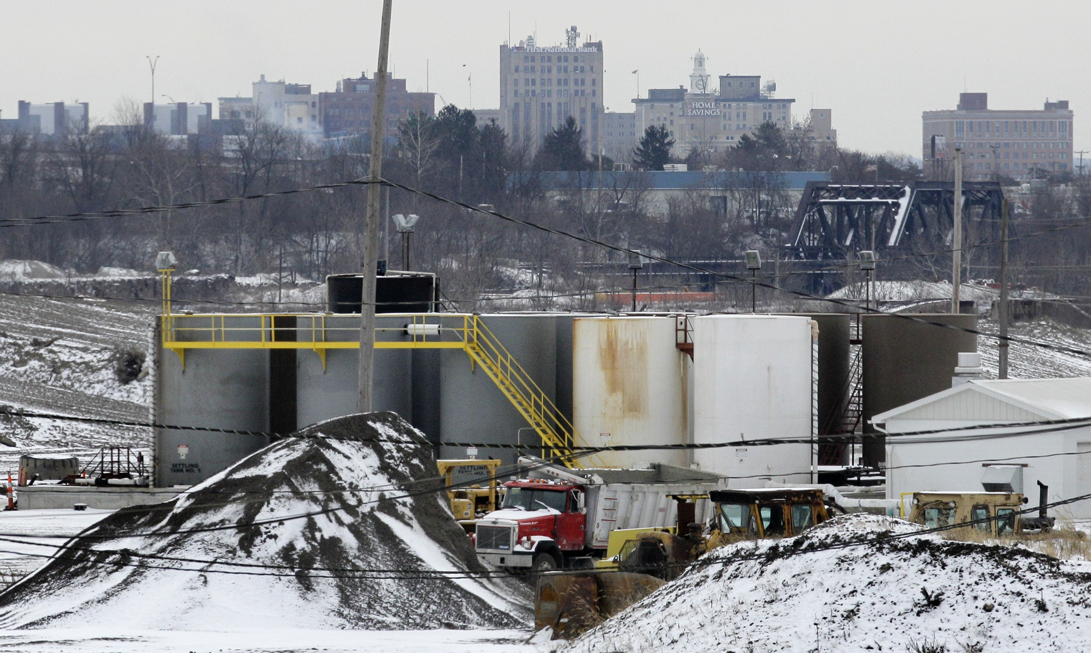 2011apinjectionwellbiz With the skyline of Youngstown, Ohio in the distance, a brine injection well owned by Northstar Disposal Services LLC is seen in Youngstown in January 2011.