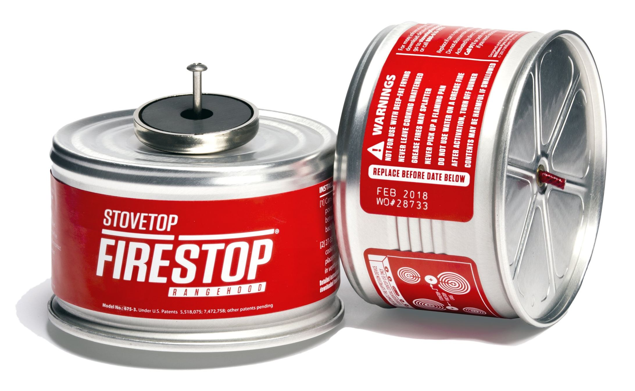 20140403firestop Firestop, a device that sprays a chemical fire suppressant if it senses a fire on your stovetop (it attaches to the range hood or microwave).