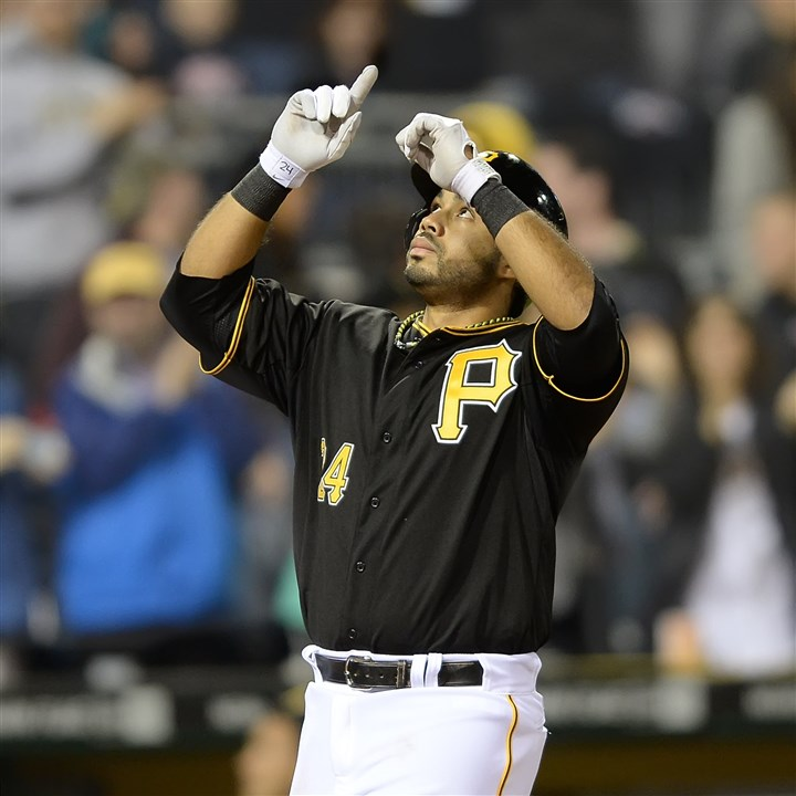 Pedro Alvarez celebrates Pirates third baseman Pedro Alvarez celebrates his home run Friday in the second inning at PNC Park.