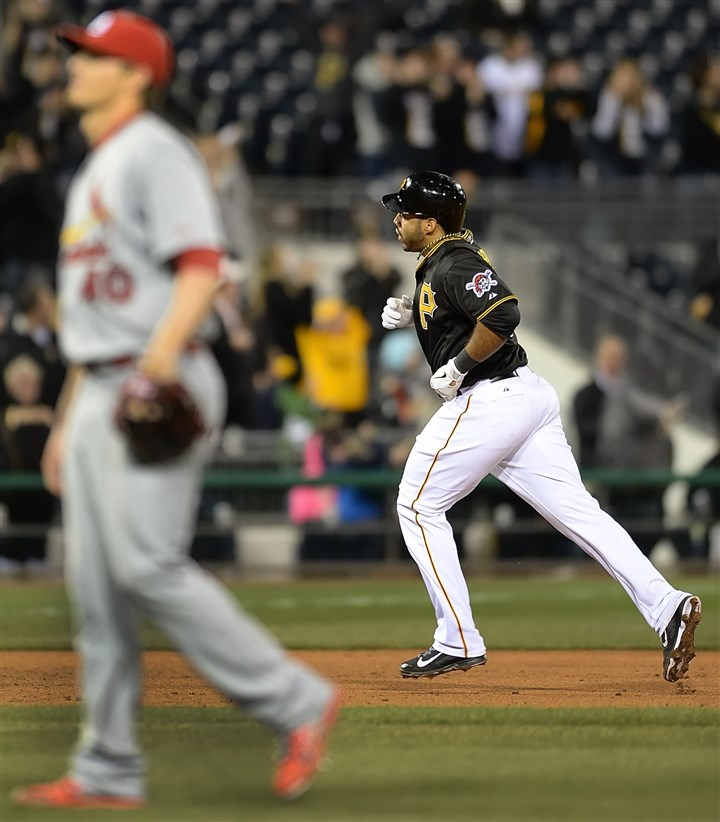 Pirates third baseman Pedro Alvarez rounds the bases  Pirates third baseman Pedro Alvarez rounds the bases after hitting his second home run of the game off of Cardinals pitcher Shelby Miller Friday night at PNC Park.
