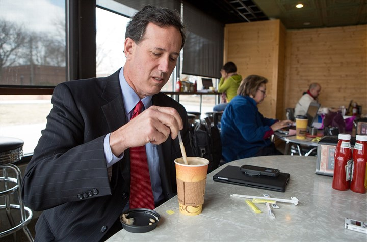 Former senator GOP presidential candidate Rick Santorum Former senator and GOP presidential candidate Rick Santorum stirs his drink during a recent visit to Smokey Row Coffee Co. in Des Moines, Iowa.