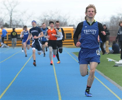 Jacob Chadwick, 17, of Trinity High School Jacob Chadwick, 17, of Trinity High School leaves the pack behind in the final 100 meters of the 800-meter race at the Tri-State Track & Field Invitational at Titan Stadium on the campus of West Mifflin High School.