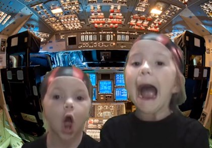 """Kids In Space"". From left, Addie and Jillian McLaughlin in the YouTube video ""Kids In Space""."