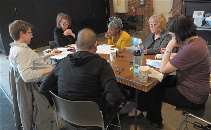 "20140405ttBricolageLocal Rehearsing Martin Giles' ""Sixteen Is The Number of Complete Completeness"" are (clockwise from rear): director Sheila McKenna (wearing black, in glasses), Candace Walker, Sharon Brady, Bevin Baker, Parag Gohel and Michael Fuller."