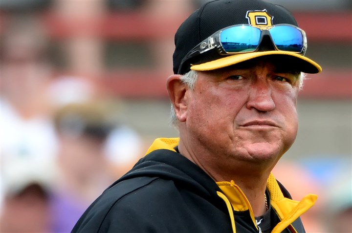 hurdlemug0406-2 Pittsburgh Pirates manager Clint Hurdle looks to his bullpen in the 7th inning against the Blue Jays at Florida Auto Exchange Stadium in Dunedin, Fla., March 5.