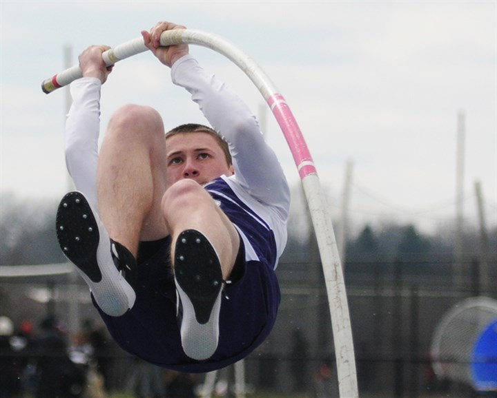 Matt Goettmann, 18, of Baldwin High School Matt Goettmann, 18, of Baldwin High School launches himself into the air during the pole vault competition at the Tri-State Track & Field Invitational at Titan Stadium on the campus of West Mifflin High School.