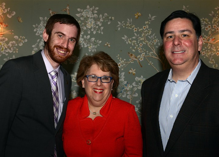 20140401bwWQEDseen01 Dan Gilman, Debra Caplan and Mayor Bill Peduto.