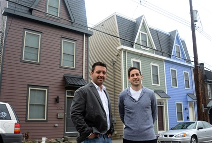 20140404lfOaklandLocal01 Mike Senko, left, and Adam Sciulli are two of five new buyers of new houses on Frazier Street in Oakland that replaced blighted, tax delinquent homes last year.