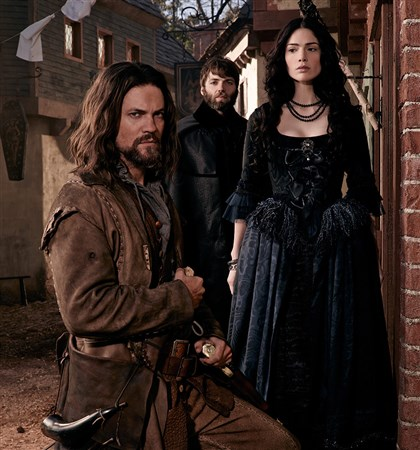 "20140417HOSalem1 WGN America's ""Salem"": From left, John Alden (Shane West), Cotton Mather (Seth Gabel) and Mary Sibley (Janet Montgomery)."