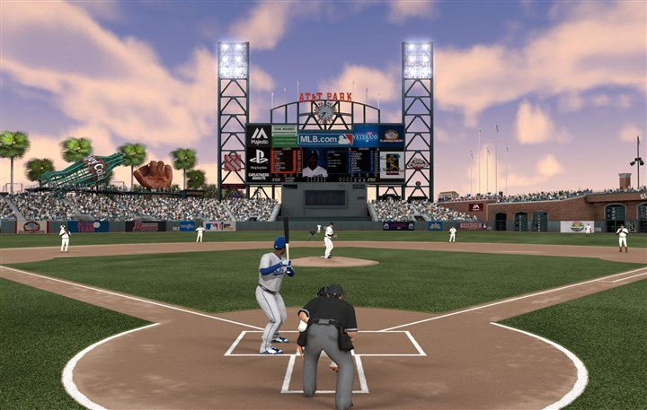 "20140407PSVITA2014SFDUSK0409 A screen shot shows the San Francisco Giants' diamond at dusk in PSVita's ""MLB 14: The Show."""