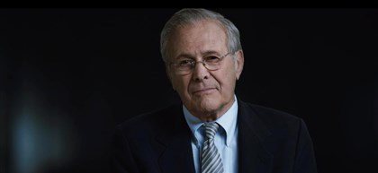 "20140409TheUnknownKnown1 Donald Rumsfeld in ""The Unknown Known."""