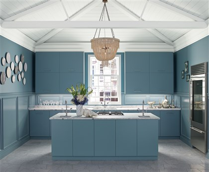 Pop of color in kitchens Benjamin Moore's Southern Charm kitchen is a collaboration with Kohler Design and Fixtures.