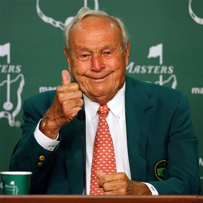 arnie0409a Golf legend Arnold Palmer gives the thumbs up in April while he reminisces about his Masters experiences on the 50th anniversary of claiming his fourth and final green jacket at Augusta National Golf Club.
