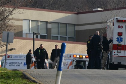 Stabbing 3 Officials at the scene where 20 people were injured in multiple stabbings this morning at Franklin Regional Senior High School in Murrysville.
