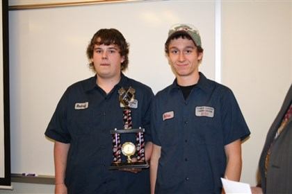 Rodney Jones and Nathan Johnson Rodney Jones (Left) and Nathan Johnson (Right) and their instructor Brent Johnson will compete at the National Automotive Technology Competition