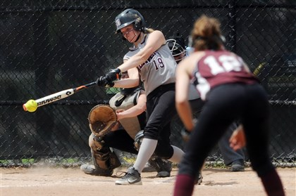 9fh00kkp.jpg Beaver's Ashley Kondracki connects with a pitch during a WPIAL tournament quarterfinal victory against Greensburg Central Catholic last May.