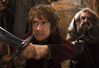 "20140410HOHobbitSmaugDVD-2 Martin Freeman as Bilbo and John Callen as Oin in the fantasy adventure ""The Hobbit: The Desolation of Smaug."""