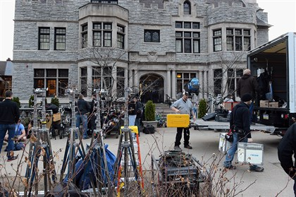"20140409radMovieProductionLocal02-1 Crews work on the film ""Fathers and Daughters"" Wednesday at the Mansions on Fifth Hotel."