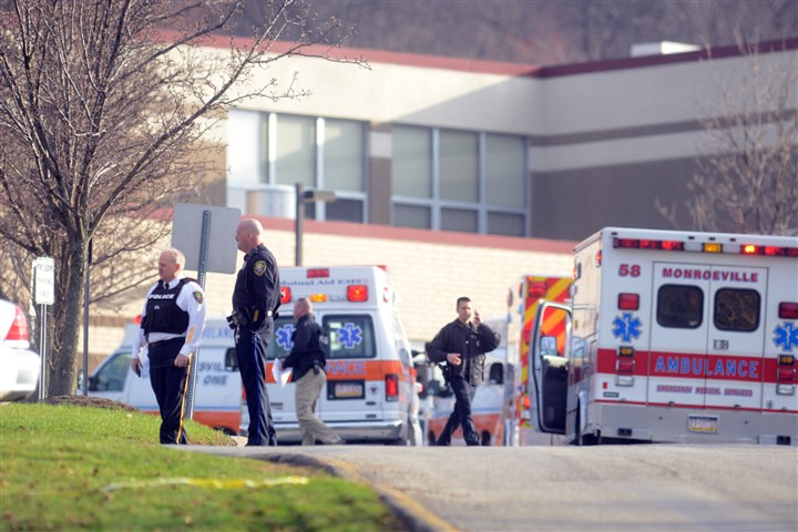 Stabbings 1 Officials outside of Franklin Regional High School in Murrysville, where multiple people were stabbed this morning.