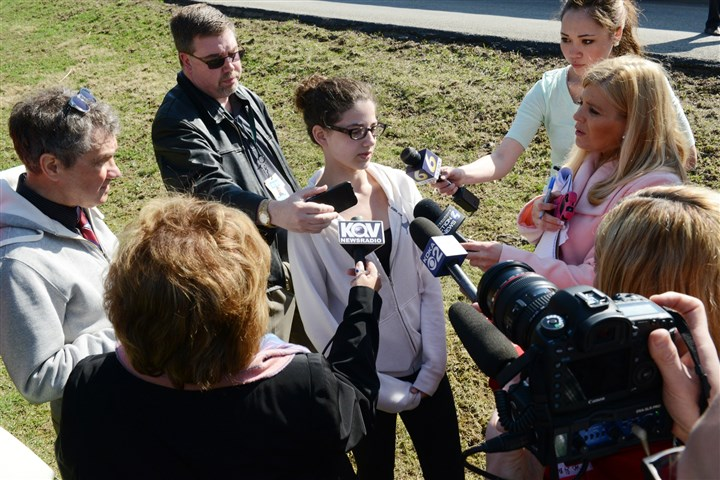 ds09AttackatschoolinMurrysvilleoutsidePittsburgh Franklin regional High School freshman Hope Demont tells her experience to the media near the Franklin Regional Campus.