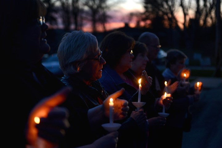 Calvary Lutheran Church vigil Church goers and community members come together during a candlelight vigil and prayer service Wednesday for the 21 people injured in a mass stabbing at Franklin Regional High School, held outside the Calvary Lutheran Church, across the street from the school.