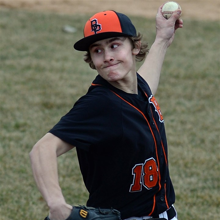 20140327mfbethelsports02.jpg Bethel Park's Corey Augenstein is a mainstay on the Black Hawks pitching staff.