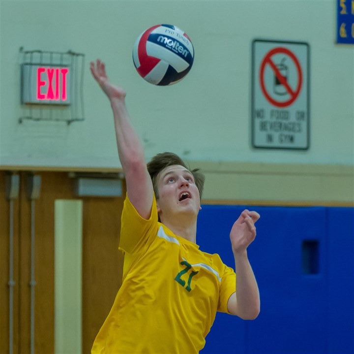 DeerLakes2.jpg Deer Lakes' Jake Roberts, a 5-foot-11 junior outside hitter, returns a shot during action in the Derry Area tournament.