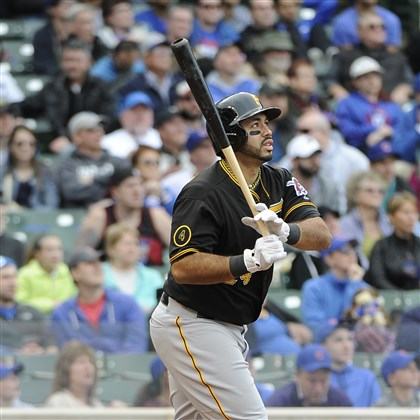 Pirates Cubs Baseball.JPEG-.18 Pedro Alvarez watches his three-run home run against the Chicago Cubs during the seventh inning.
