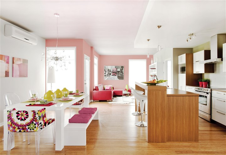 Pop of color in kitchens Modern lines take on a retro-pop feel when a kitchen's walls are painted green with PPG paints Merry Music PPG1127-3 and pink with Powdered Petals PPG1053-3.