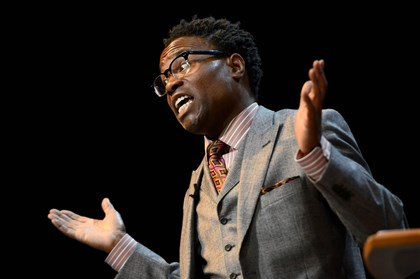 Billy Porter at CMU Billy Porter answers questions from students in Carnegie Mellon University's Philip Chosky Theatre Sept. 30. The Tony and Grammy winner is a 1991 alumnus of CMU.